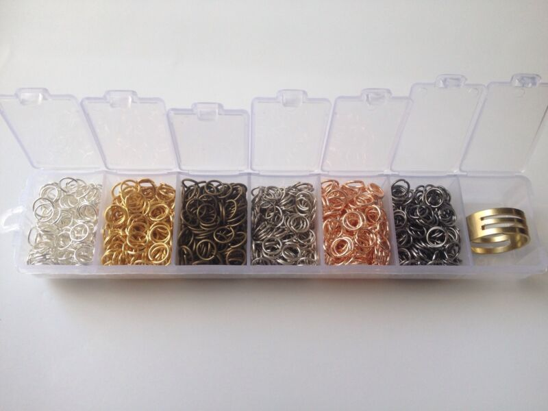 Assorted 1200 pcs 5mm Gold Silver Bronze Gunmetal Plated Cut Open Jump Rings NEW