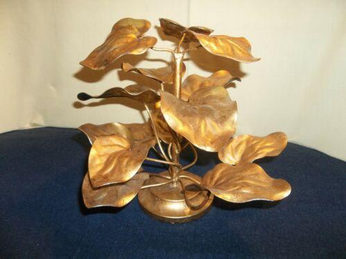 HTF Vintage Hollywood Regency Gold Tole Florentine Tall Leaf Centerpiece
