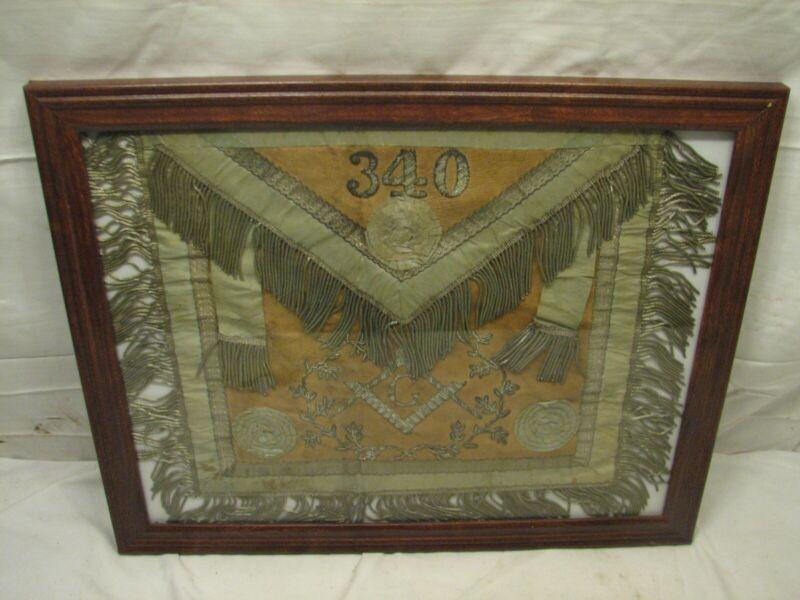 Mason Silver Metal Fringed Apron Hand Embroidered Masonic Lodge 340 Paoli
