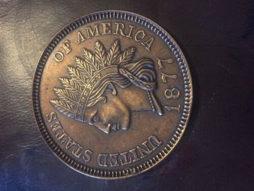 """Novelty 3"""" coin 1877 Indian head penny cent"""