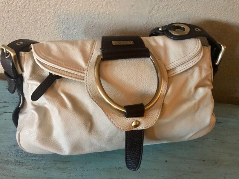 Vintage RIONI ITALIAN Designer Ivory Leather Handbag Boho Slouchy Chain Handle