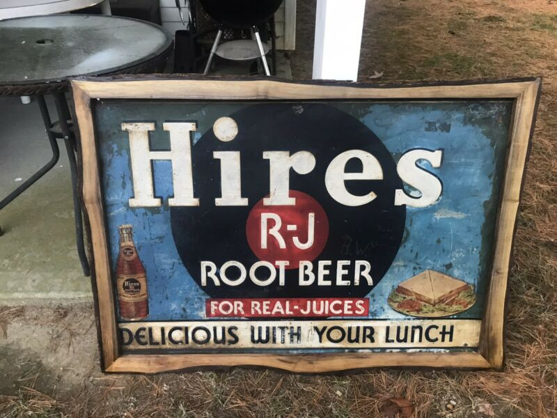 "UNBELIEVABLE 1930s HIRES ROOT BEER SIGN IN REAL WOOD BARK  FRAME 45""x32"""