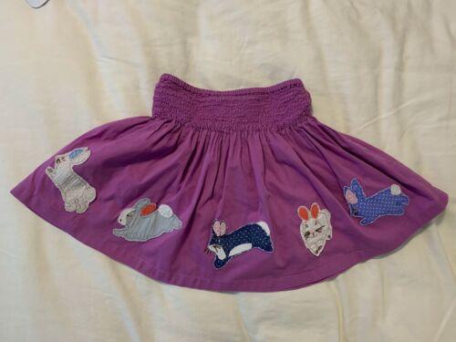 EUC Mini Boden Purple Applique Bunny Rabbit Skirt Size 3-4