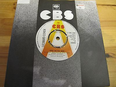 "S CBS 2494 UK 7"" 45RPM 1973 LEONARD COHEN ""BIRD ON THE WIRE"" PROMO EX"