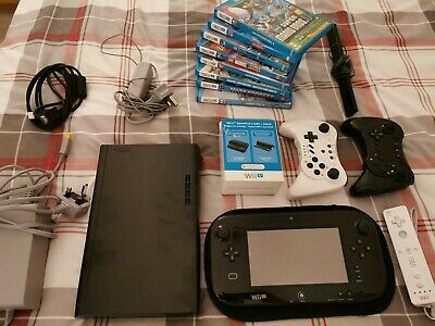 Nintendo Wii U Premium Console Bundle 32GB (Black) with 8 games & 2 controllers