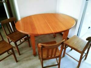 Oval Wooden Table and 4 wooden chairs