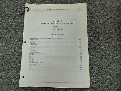 International Harvester Ih Radiator Cooled Lb Engine 3-5 Hp Parts Catalog Manual