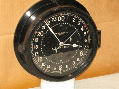 CHELSEA U.S.AIR FORCE CLOCK~8 1/2 IN~CIRCA 1954~24 HR DIAL~RESTORED