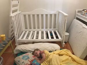 Cot and nappy change table with mattress and cover Mount Nasura Armadale Area Preview