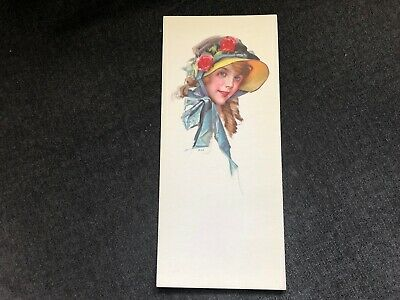 Vintage 1916 LADY BONNET Curls Roses Ink Blotter PIN-UP GIRL