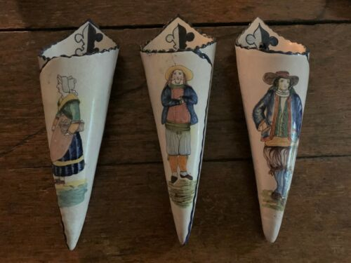 Set of 3 early Malicorne (Quimper-like) large wall pockets