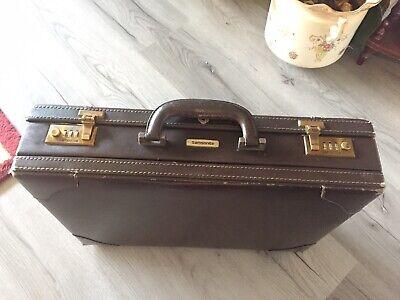 "Samsonite Vintage Leather Attache Case, Combination Locks Work, Fits 20""Laptop."