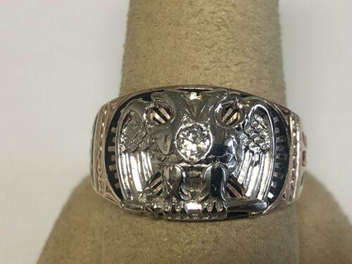 Vintage Masonic 10K Gold Double Eagle 32 Degree Mason Ring, Size 11.5, 9.7 Grams