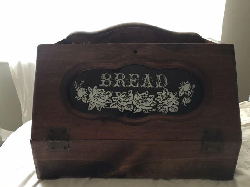 Vintage Solid Wood Bread Box W/ Glass Window White Rose Pattern