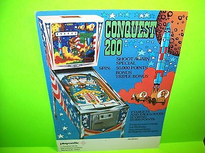 Playmatic CONQUEST 200 Original 1976 Flipper Game Pinball Machine Flyer Spain