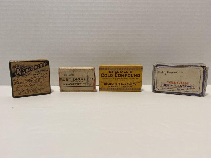 Lot of 4 Vintage Pharmacy Druggist Paper Prescription Boxes Medicine Apothecary