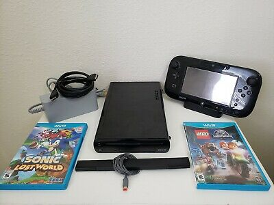 Nintendo Wii U Black 32gb Console Bundle w/Gamepad & 4 Games - Read Description