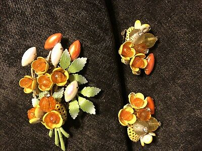 Vintage Floral Enamel, Bead, Rhinestone Brooch and Clip on Earrings- Retro Style