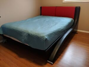 Leather queen bed with mattress