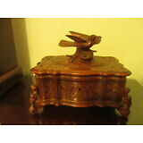 Large Antique German Hand-Carved Box w/ Birds  c. 1900 German ? Nice Detail