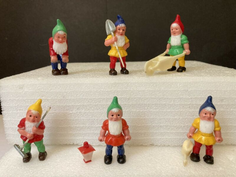 6 Vintage Miniature Plastic Garden Gnome Elves Hong Kong Dwarfs Diorama