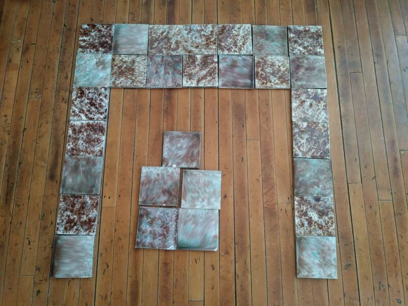 Trent COMPLETE SET VINTAGE VICTORIAN  FIREPLACE TILE MANTLE Tiles  Brown green