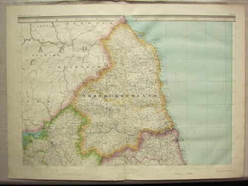 1868 HAND COLOURED MAP ~ NORTHUMBERLAND ~ NEWCASTLE GATESHEAD HEXHAM TYNEMOUTH