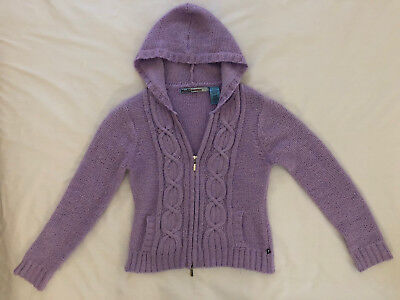 Mudd Full Zip Hooded Cable Knit Sweater Purple Size Large Juniors Cable Knit Hooded Sweater