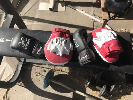 Boxing bag with gloves and mits