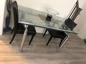 Dining table, breakfast table, glass table