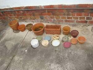 Garden Terracotta and Glazed Pots & Saucers, Bulk Lot Ormond Glen Eira Area Preview