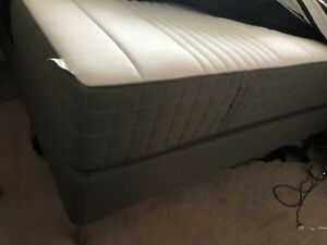 IKEA Mattress + spring box + cover and slatted base + legs