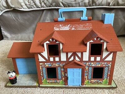 VTG Little People #952 Play Family Doll House Brown Tudor 80s Fisher Price 1986