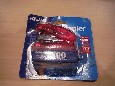 New Bazic Mini Stapler W 500 Staples - Choice Pink Green Black