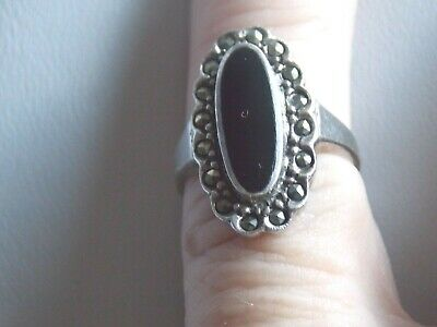 1940s Jewelry Styles and History Adorable Vintage 1940's Sterling Silver Black Onyx & Marcasite Ring Sz K $17.22 AT vintagedancer.com