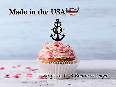 Anchor Cake Topper (Anchor Cupcake Topper, Anchor with Initial, Circle Monogram, Ship Decor,)