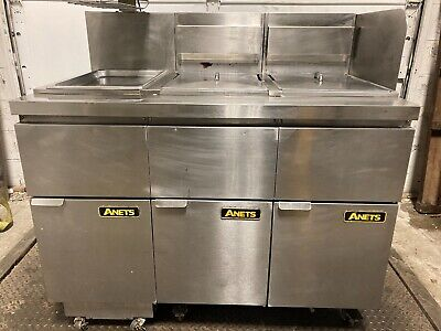 Anets Natural Gas 14gs Double Fryer W Dump Station And Filtration Pitco