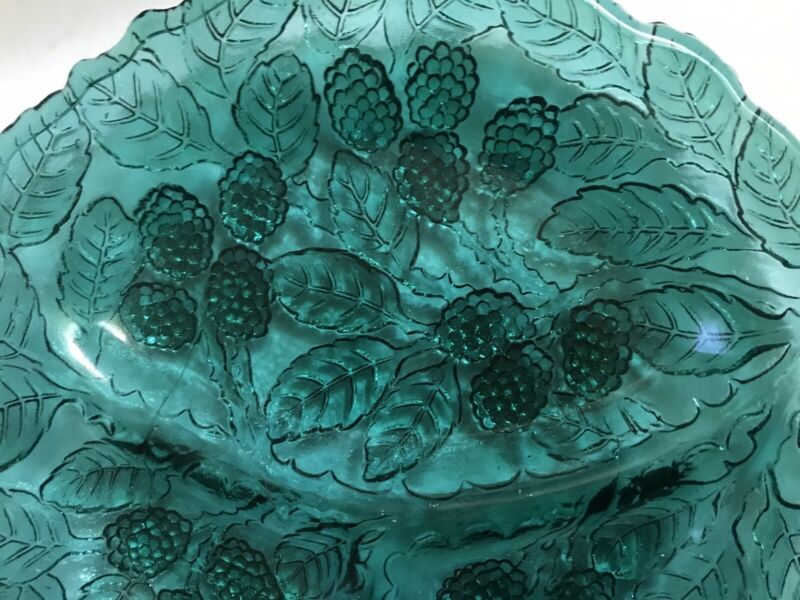 HIGH TEA TABLE! 2 ANTIQUE GLASS DEEP BLUE-GREEN PLATES BERRIES & LEAVES