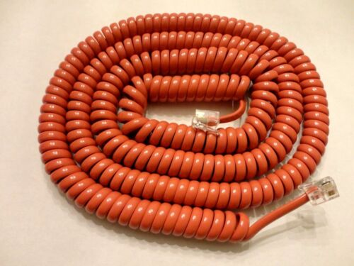 25 Foot Modular Coiled Telephone Handset Cord, Red/Orange Color