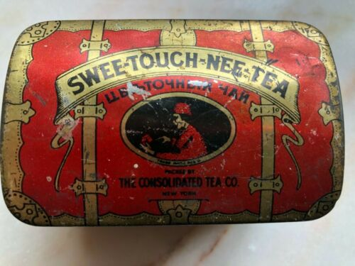 Swee-Touch-Nee-Tea Empty Tin English & Russian Vintage Antique Red & Gold Trunk