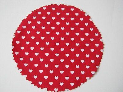 15 Stoffdeckchen Hauben rot mit kl.weißen Herzchen für Marmeladengläser Deckchen