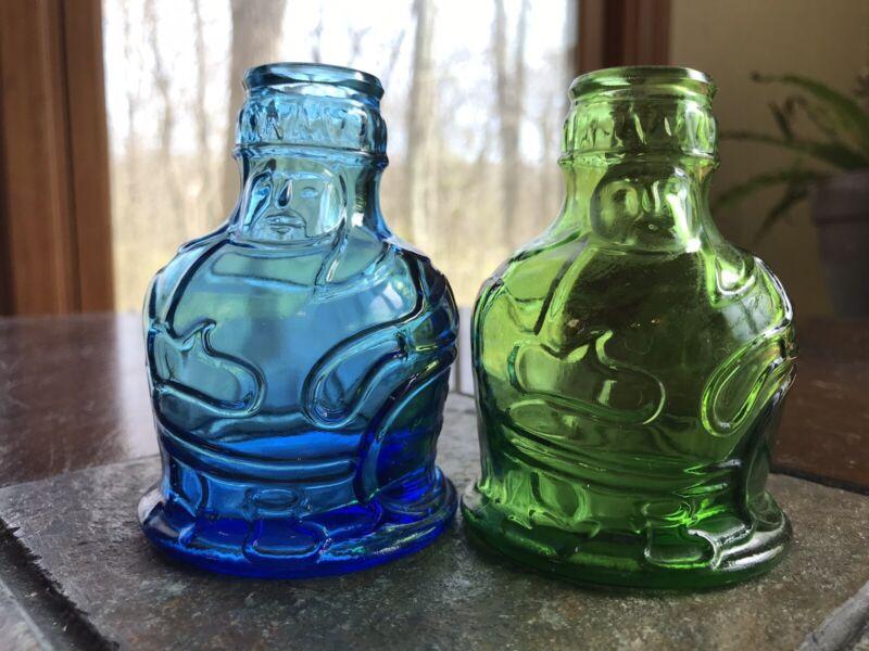"Vintage Original Pocahontas Indian Herbs Green & Blue Glass Bottles 3.5"""