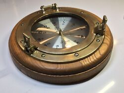 Vintage Brassom Quartz Ship's Nautical Clock Porthole Wall Clock Brass Oak Wood