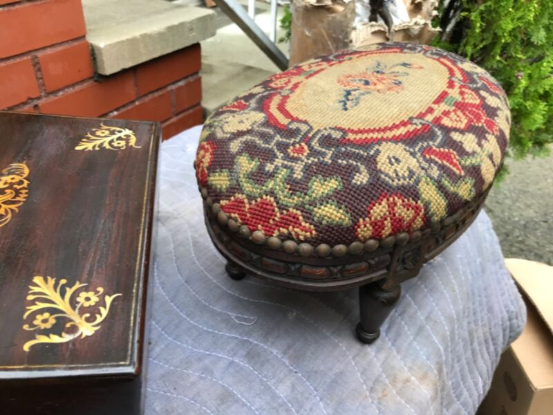 antique footstool tapestry and nail Upholstery