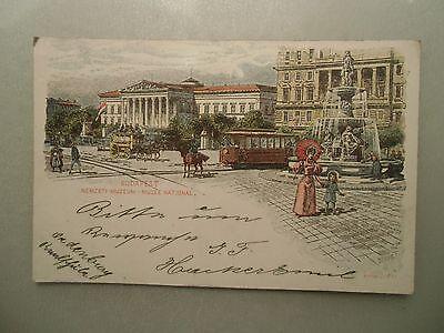 Ansichtskarte Budapest Strassenbahn Nemzeti Muzeum Litho 1898