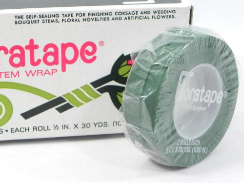 "Floratape Florist Stem Wrap 2 Rolls Green 30 Yds x 1/2"" Tape Wedding Prom New"