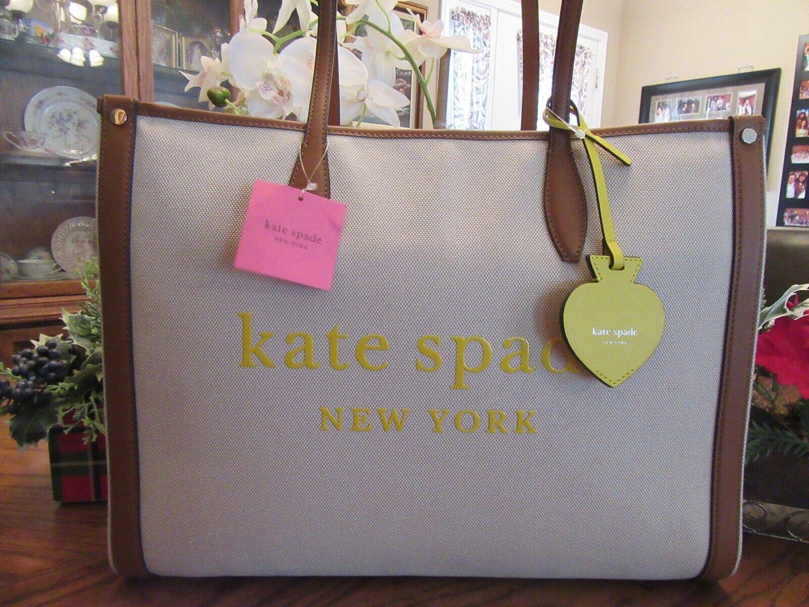 New Kate Spade New York Natural Market Canvas Large Tote Sat
