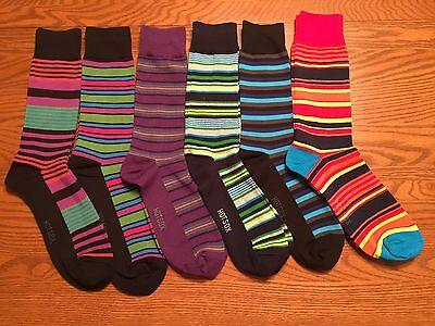 HOT SOX HOTSOX Mens Crew Dress Socks Fun Hot Multicolor Striped L (8-12)
