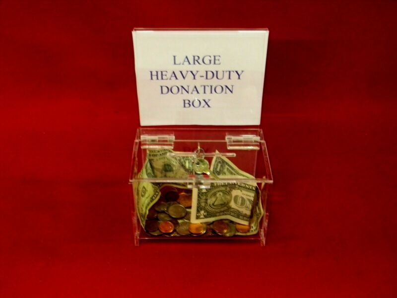 FIVE (5) - LARGE, HEAVY DUTY, DONATION BOXES WITH KEY LOCK
