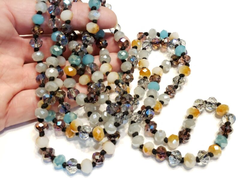"""52"""" long black knotted brown turquoise & mixed color crystal glass necklace"""